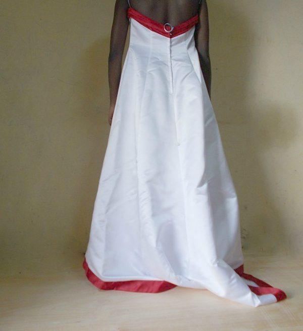 Red trim wedding dress in Kenya
