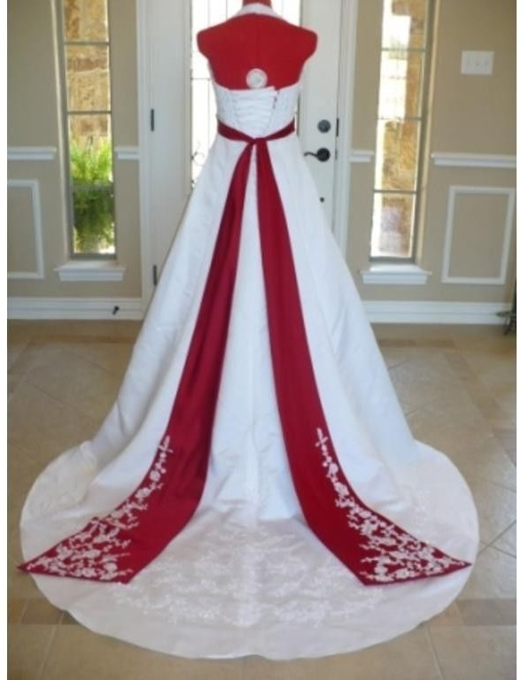 Satin white wedding dress
