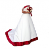 red trim wedding gown