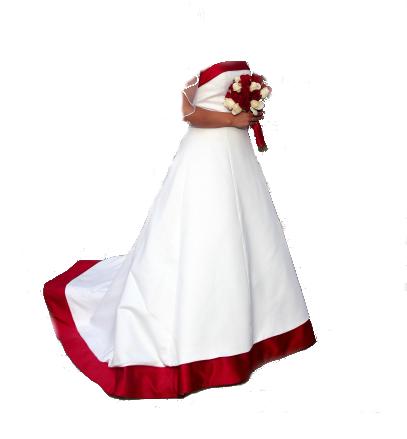 red trim wedding gown