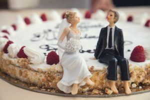 wedding cake while hiring a wedding gown