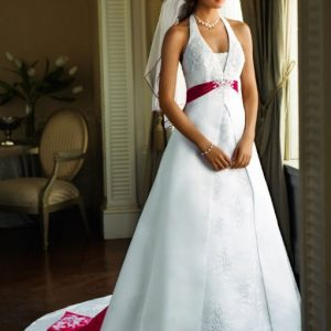A-line halter neck wedding dress