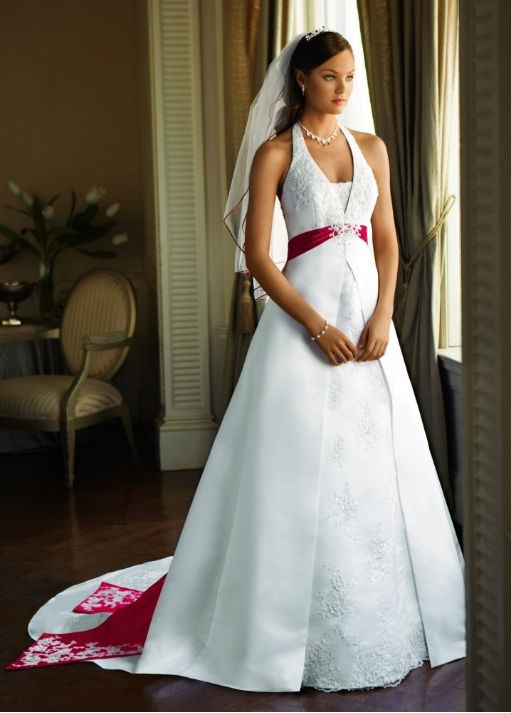 white satin wedding dress