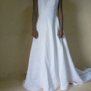 Cowl neck wedding dress