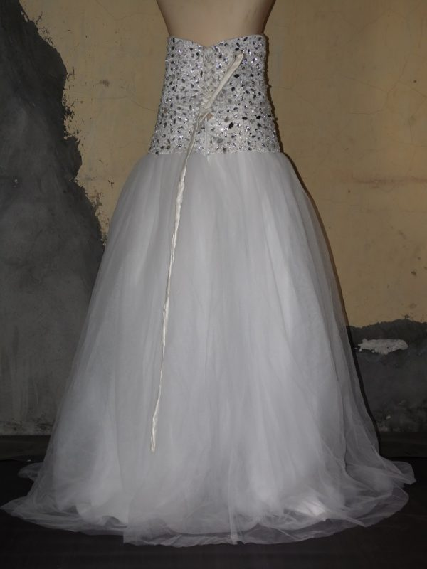 Crystal bead sweetheart wedding gown back view