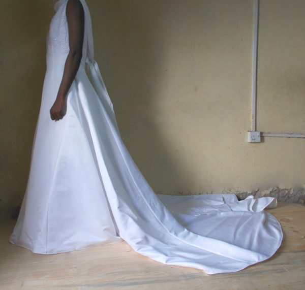 cowl neck wedding gown side view