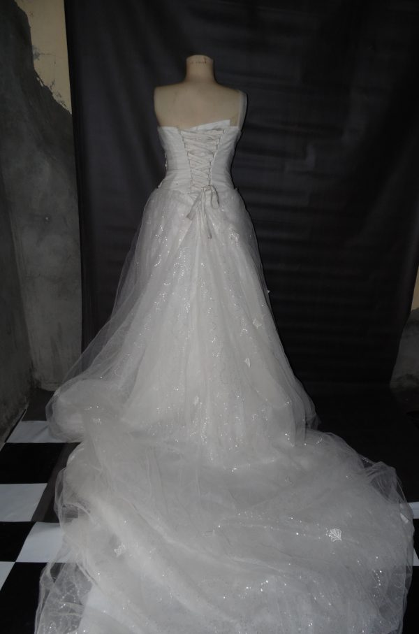 one shoulder wedding dress back view