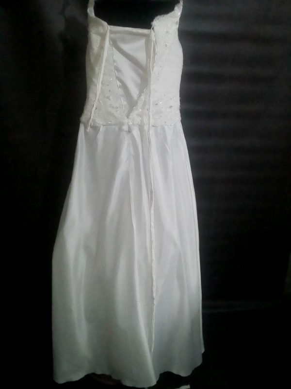 Sheath wedding gown back view