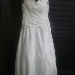 V-neck sheath wedding gown