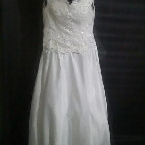 V-neck sheath wedding gown