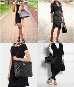 pu leather black handbags