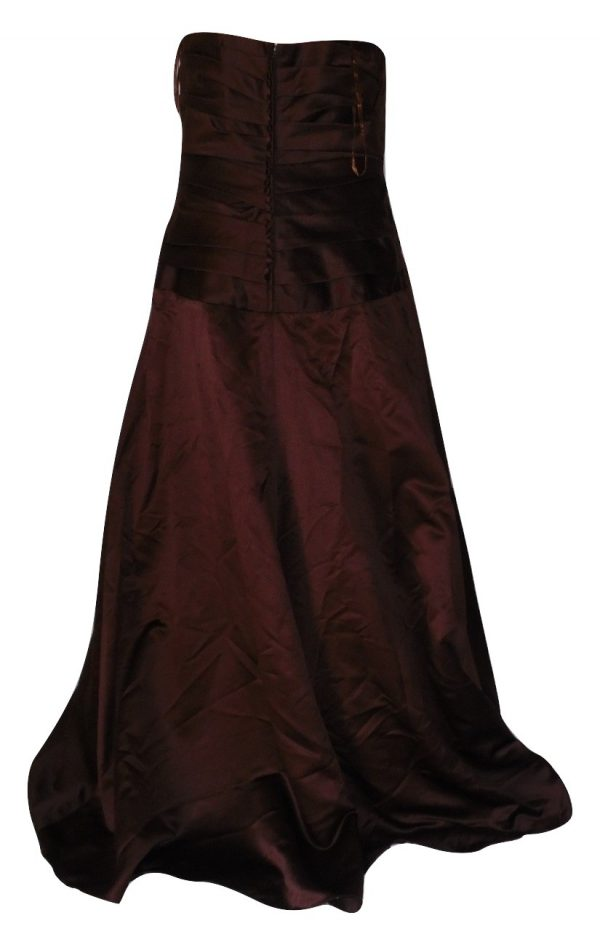 Chocolate evening dress back view