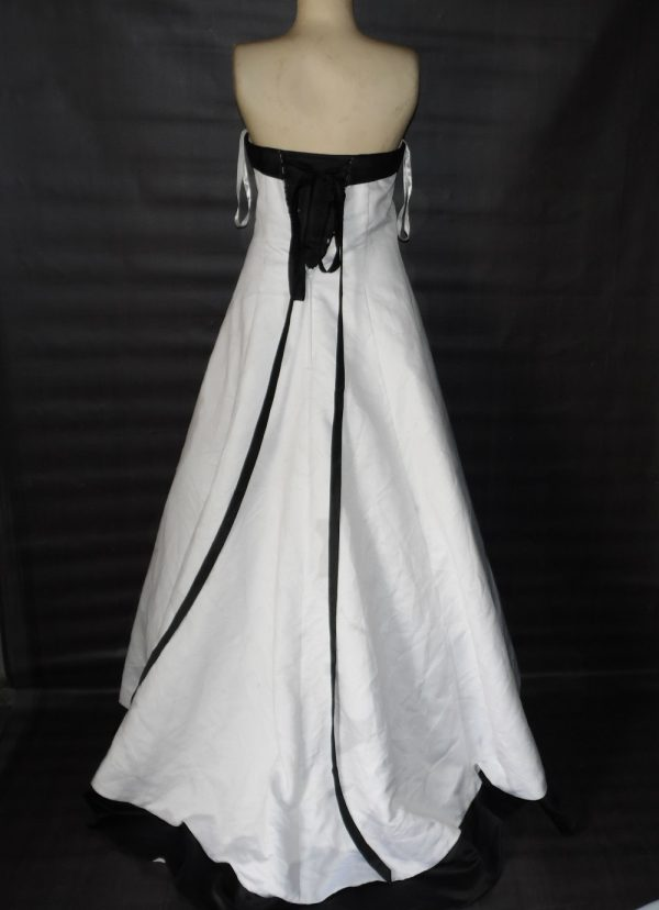 Black trim wedding gown back view