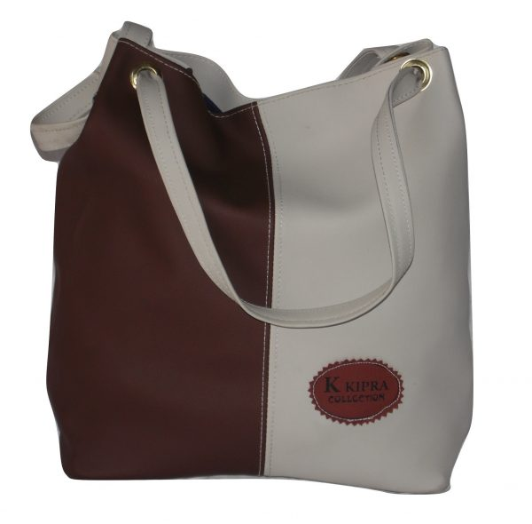 Brown and white bucket bag