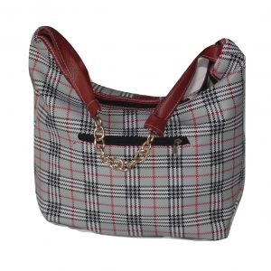 Checked baguette handbag