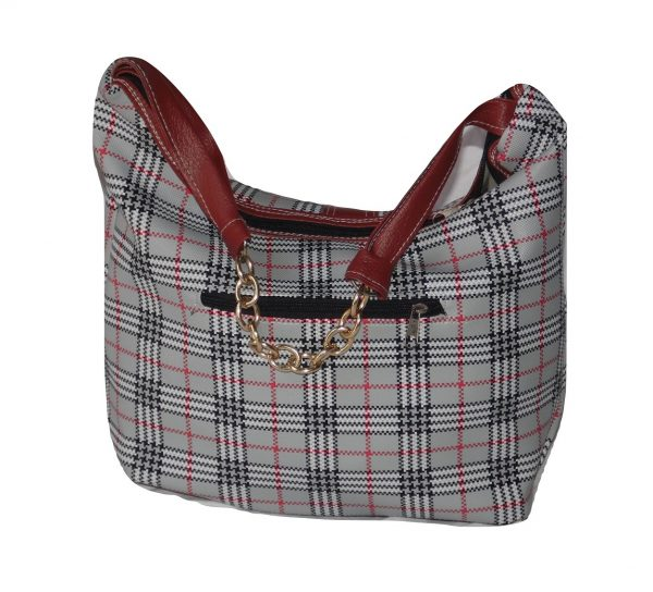 Checked baguette handbag back view