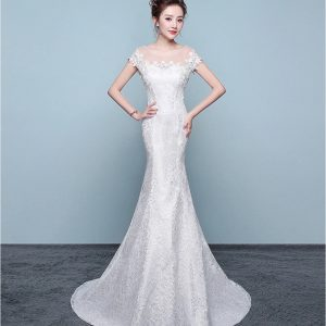Boat neck mermaid wedding dress