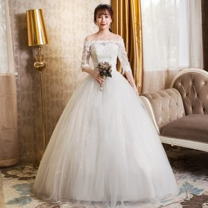 Cheap off the shoulder sleeved wedding dress