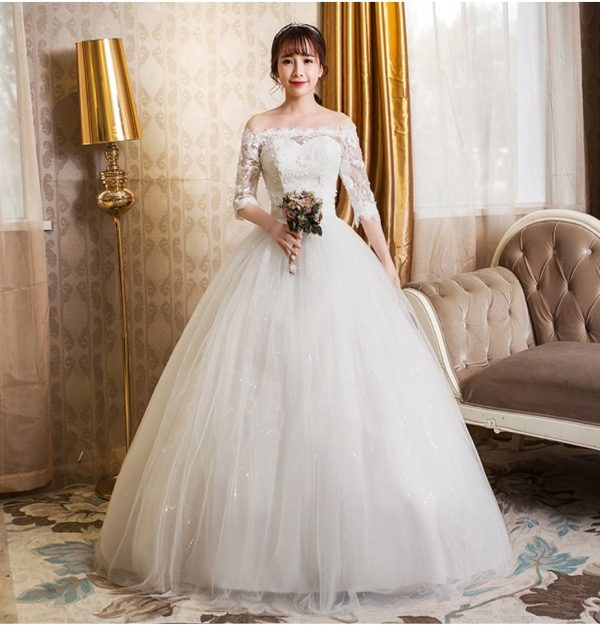 cheap off the shoulder sleeved wedding dress