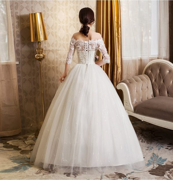 cheap off the shoulder sleeved wedding dress back view