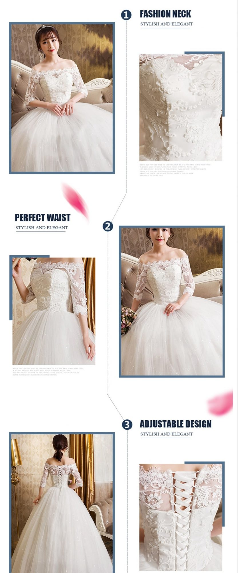 off the shoulder sleeved wedding dress description