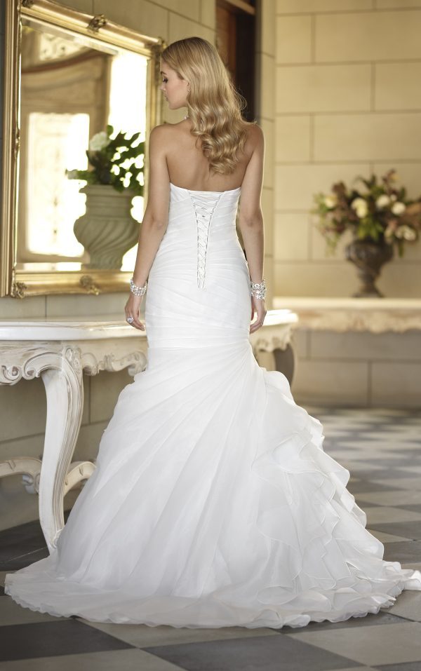Pleated mermaid wedding dress back view