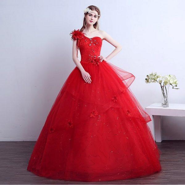 red one shoulder princess wedding dress