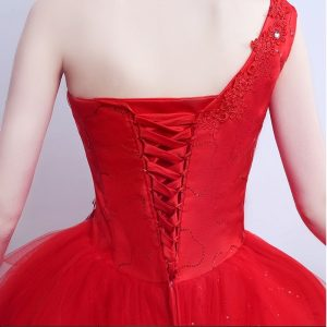 Red one shoulder princess wedding dress