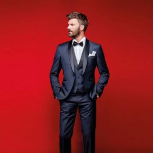 Navy blue slim fit wedding tuxedo