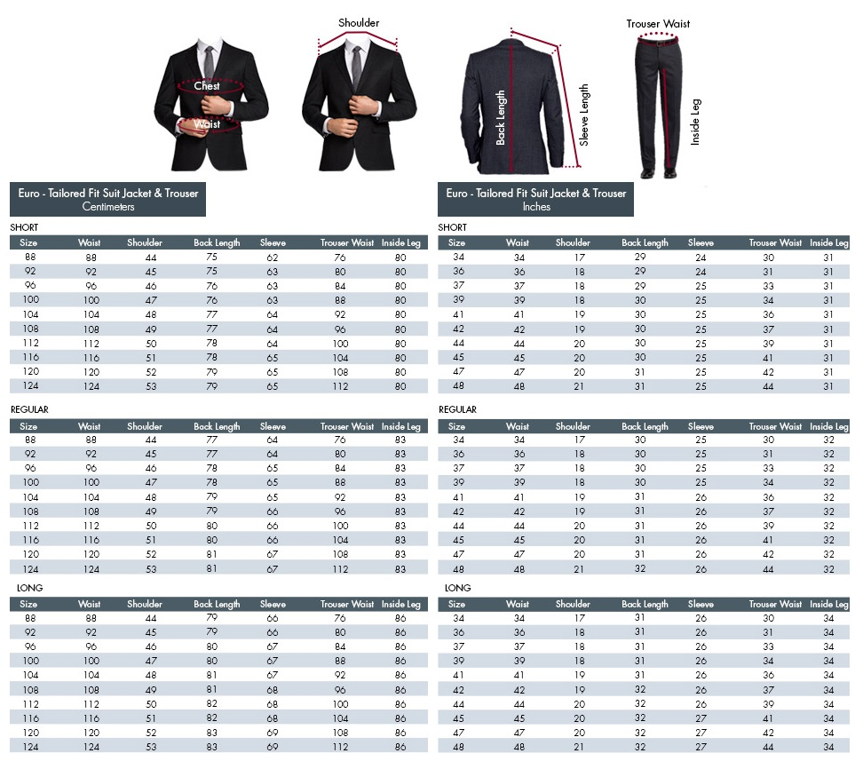Tuxedos and suits size chart.