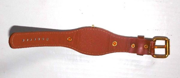 ladies watch brown leather straps back view