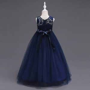 Navy blue flower girl dress