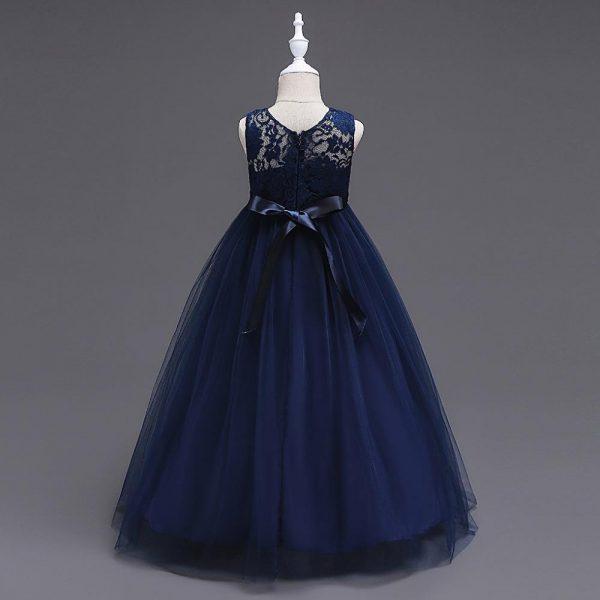 navy blue flower girl dress back