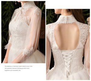 vintage muslim wedding dress back details