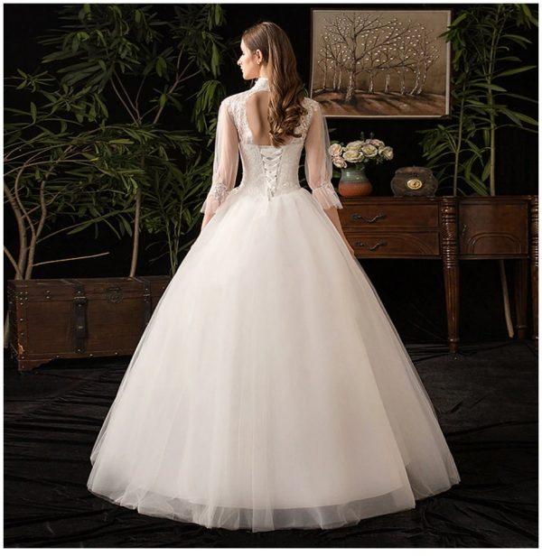 vintage muslim wedding dress back view