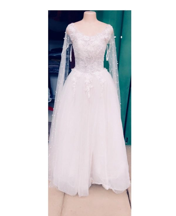 flare long sleeve ball gown