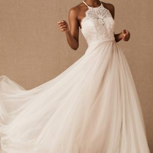 Custom Halter Top Ivory Wedding Dress