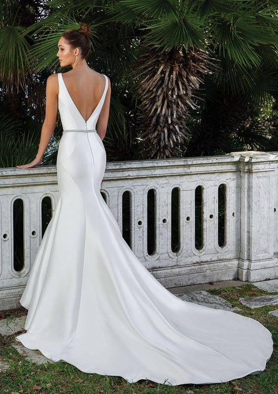 satin mermaid wedding gown back view