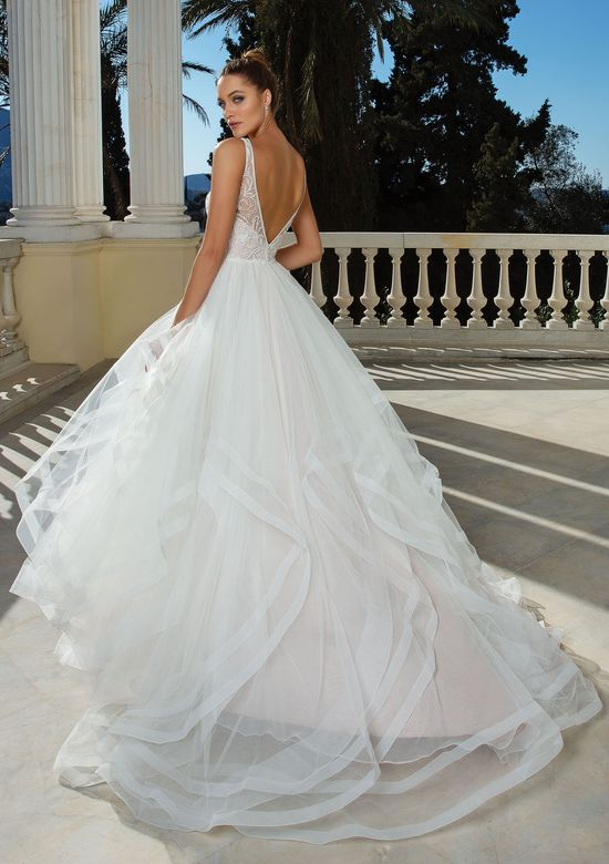 ruffled wedding gown back view
