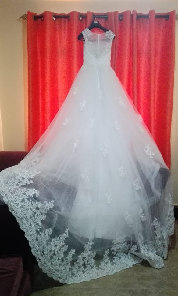 High neck lace wedding dress back view