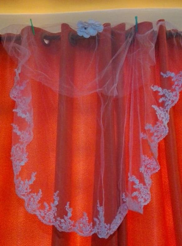 High neck lace wedding dress veil