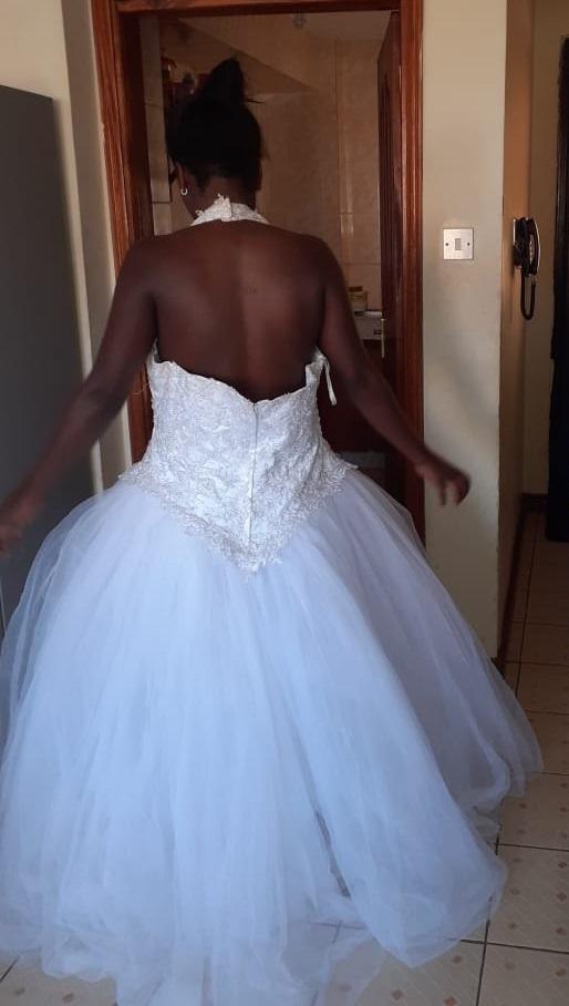 halter neck tulle wedding dress back view