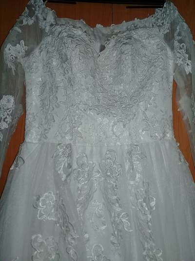 lace boat neck wewdding dress close view