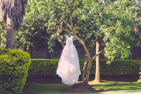 golden crystal bodice ball gown garden view