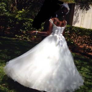 Round neck ball gown