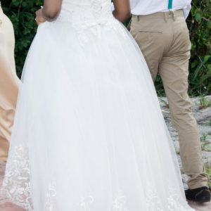 Flower Embroidered Wedding Ball Gown