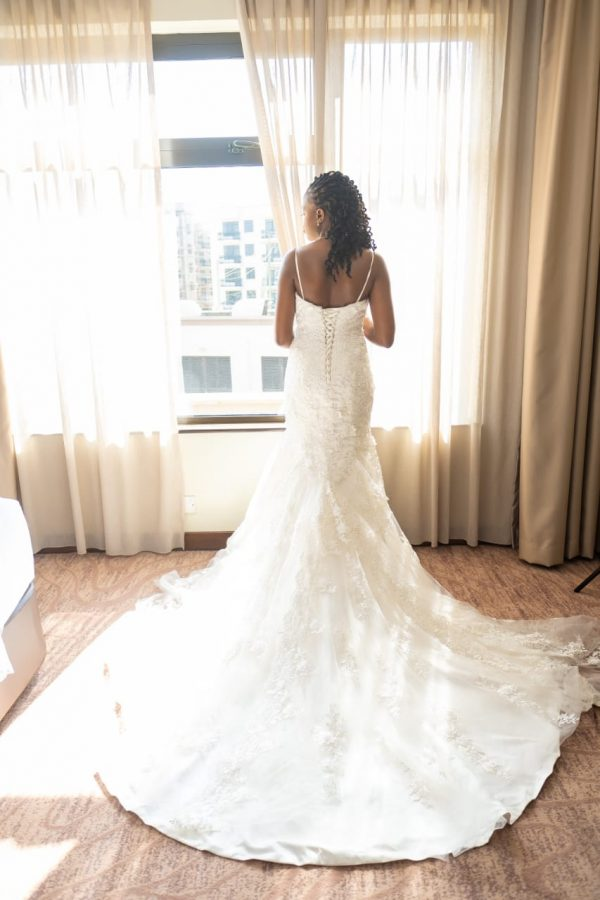 Mermaid Lace V-neck wedding dress back view