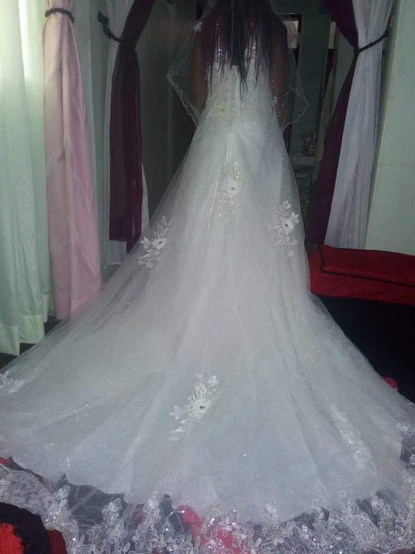 V-neck bridal dress back view