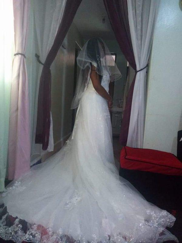 V-neck bridal dress side view