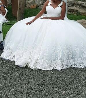 Embroidered cinderella ball gown wedding dress bride view